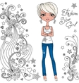 Fashion hipster girl and star vector