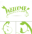 Welcome green vine leaf lettering design vector