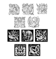 Stork and heron birds in celtic patterns vector