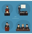 Business concept flat icons set of meeting vector
