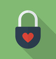 Padlock with heart flat style icon vector
