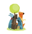 Group of cartoon dogs sitting under tree smiling vector