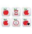 Red apple apple core bitten half buttons vector