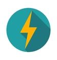 Lightning icon flat design long shadows vector