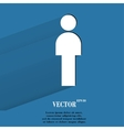 Man restroom flat modern web button with long vector