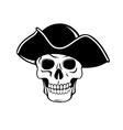 Pirate skull in black hat vector