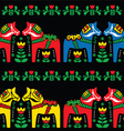 Swedish dala horse folk seamless pattern on black vector