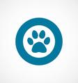 Cat footprint bold blue border circle icon vector