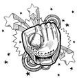 Doodle pop baseball glove vector