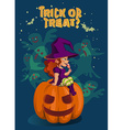 Halloween with witch on pumpkin lantern vector