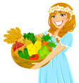 Girl with vegetables vector