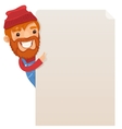 Lumberjack looking at blank poster vector
