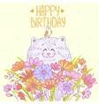 Cat happy birthday vector