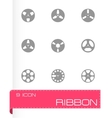 Ribbon icon set vector