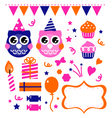 Owl birthday party design elements vector