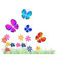 Butterflies flying over flowers vector