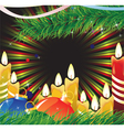 Candles and christmas decorations vector