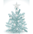 Turquoise christmas tree with white star and baubl vector