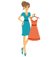 Beautiful woman shopping for dress vector