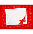 Christmas sheet of paper and red ribbon gift vector