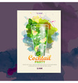 Cocktail watercolor paint disco poster vector