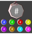 Hash tag icon set colourful buttons sign vector