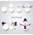 White winter happy snowman building eps10 vector