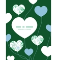 Abstract blue and green leaves heart symbol vector