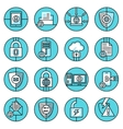 Data protection icons blue line vector