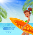 Summer poster with text badge vector