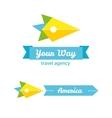 Flat bird head travel company logo with identity vector