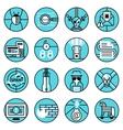 Hacker icons set blue line vector