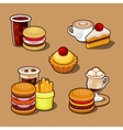 Set of colorful cartoon fast food vector