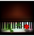 Abstract grunge dark background with rose on piano vector