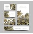 Mechanic business cards set vector