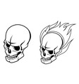 Skull with fire flames vector