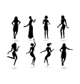 Female silhouette set vector