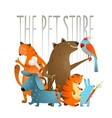 Company of cartoon domestic animals vector