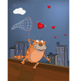 Cat and hearts vector