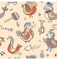 Jazz concept wallpaper birds sing and dancing vector