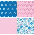 Blue and pink kimono blossoms set of four vector