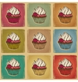 Retro cupcakes background vector