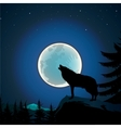 Background with wolf howls of moon vector