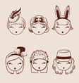 Fashion girls in head accessories icon set hand vector