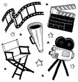 Doodle movie film camera director chair clapper vector