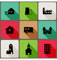 Flat icons set with long shadows vector