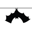 Bat hanging on a rope silhouette vector