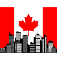 City and flag of canada vector