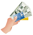 Hand with dollar bills and credit cards vector
