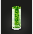 Empty transparent glass cylinder with leaves vector